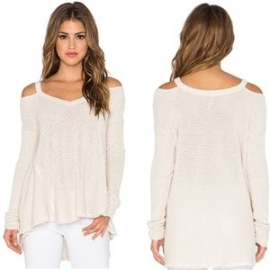 Free People Moonshine V-Neck Sweater in Cream